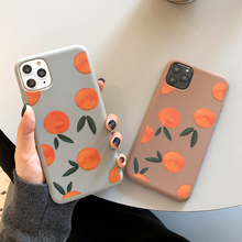 Simple Retro Orange Phone Case For iphone 11 Pro MAX XS XR X 6 7 8 Plus Soft TPU Back Cover Lovely Fruits Painted Cases