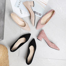 Summer Office Shoes Women Pumps Med High Heels Party Simple Pointed Toe Shallow Square Heels Woman Work Shoes G0004 dijigirls recommend sheep skin summer women pumps patterns leather mixed color metal high heels pointed toe shallow shoes