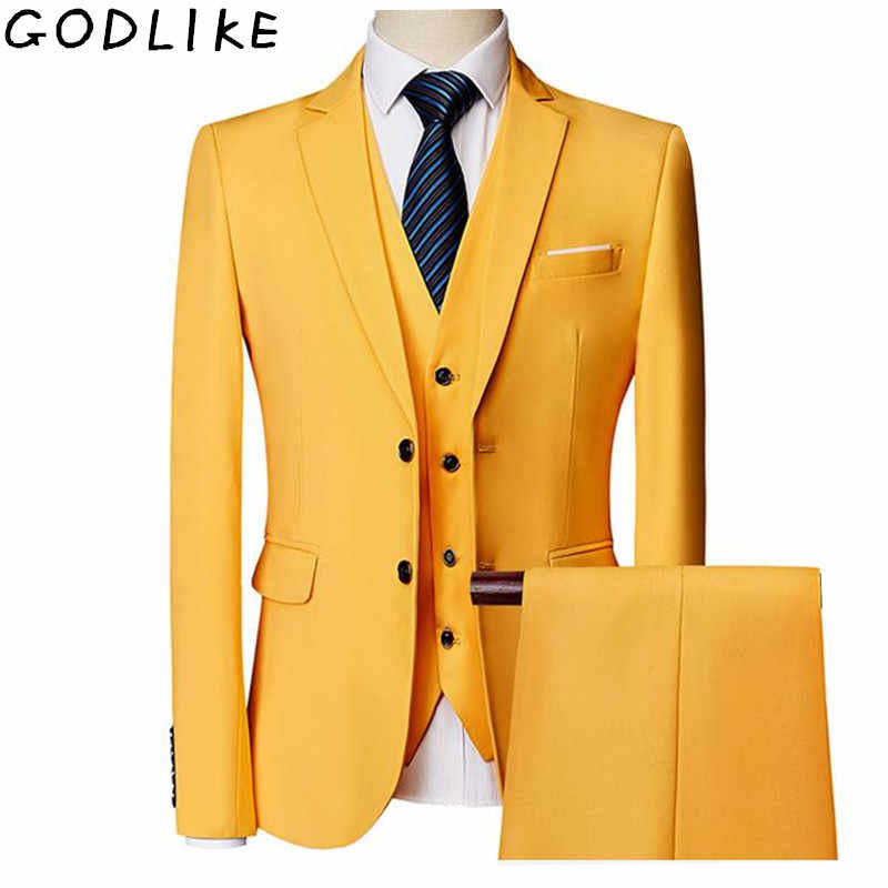 Mens Suit 2019 Wedding Suits For Men Shawl Collar 3 Pieces Slim Fit Burgundy Suit Male Yellow Tuxedo Jacket Plus Size 6XL 5XL