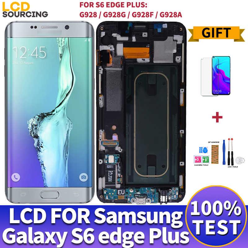 """5.7 """"עבור Samsung Galaxy S6 קצה בתוספת LCD תצוגת G928 G928F מגע מסך Digitizer עצרת לסמסונג s6 קצה LCD להחליף G925"""
