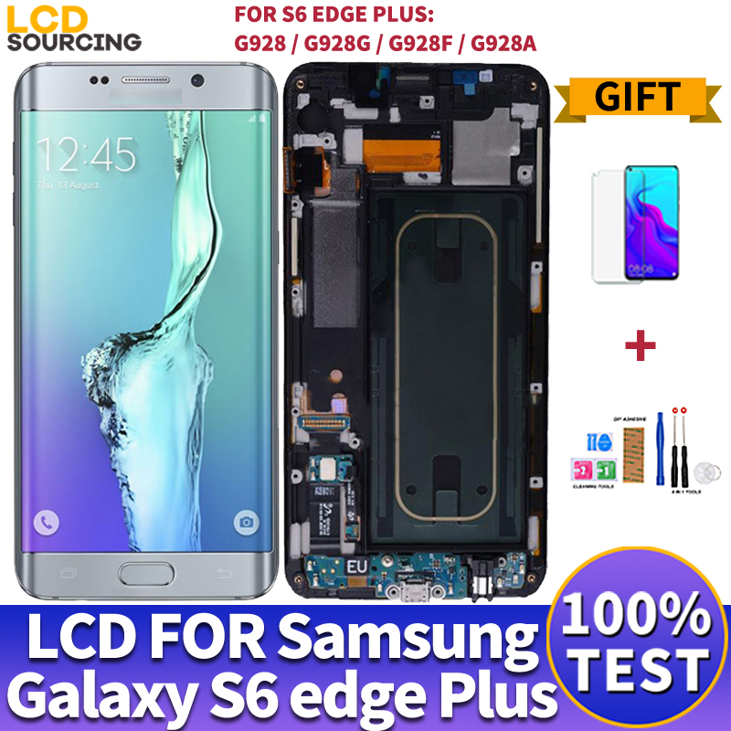 """5,7 """"для Samsung Galaxy S6 edge plus ЖК дисплей G928 G928F сенсорный экран дигитайзер сборка для Samsung s6 edge LCD Замена G925Экраны для мобильных телефонов    АлиЭкспресс"""