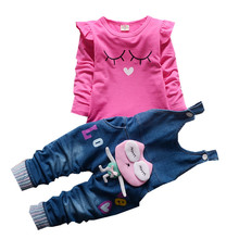 Autumn Newborn Girls clothes Sets Long sleeve T-shirt+ jeans 2Pcs for Kids Clothing Sets Baby Clothes Outfits Toddler clothing cheap Casual CN(Origin) O-Neck Pullover Toddler Girls Clothes Cotton Full Regular Fits true to size take your normal size Shorts