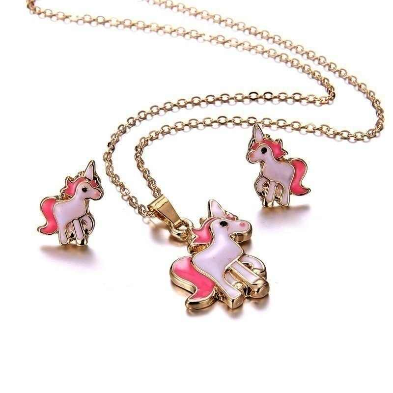 4 in 1 Earring and Necklace Set Cartoon Unicorn Necklace Earrings Jewelry Pink Girls Xmas Jewelry Gift
