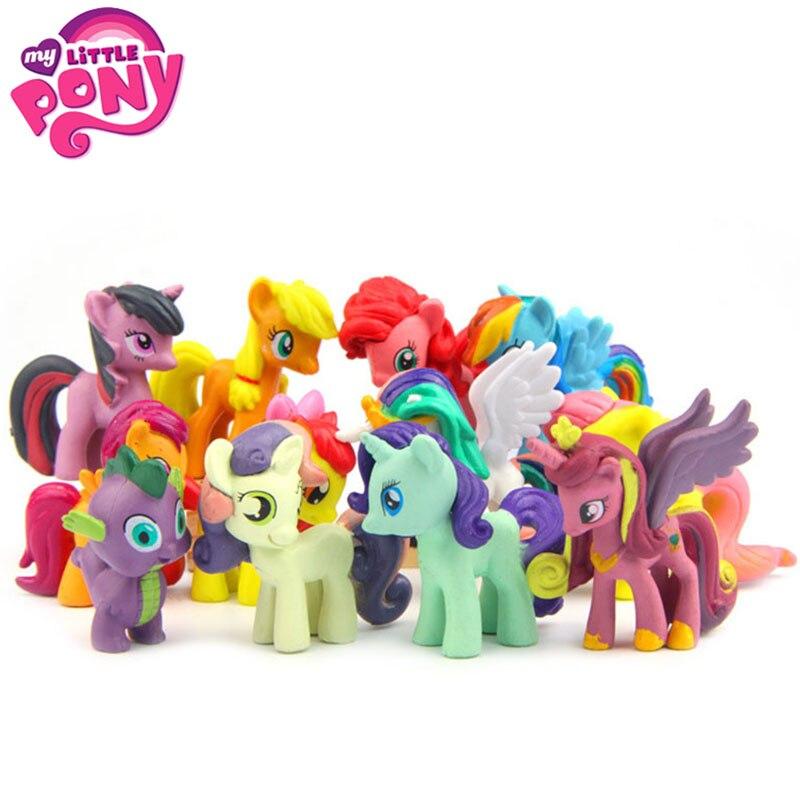 12 шт./компл. Аниме фигурки из м/ф «Мой Маленький Пони», игрушка, симпатичная маленькая лошадка, игрушечная фигурка, куклы, подарки на день рож...
