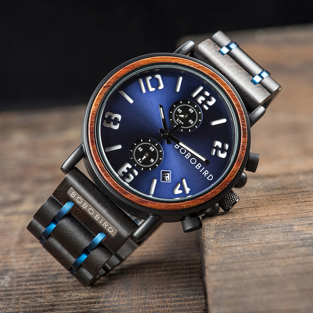 Men's Stainless Steel And Wood Watch