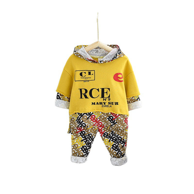 Nouveaux ensembles pour enfants enfant en bas âge bébé enfants garçons vêtements lettre sweat à capuche garçons hauts de mode bébé garçon vêtements tenue