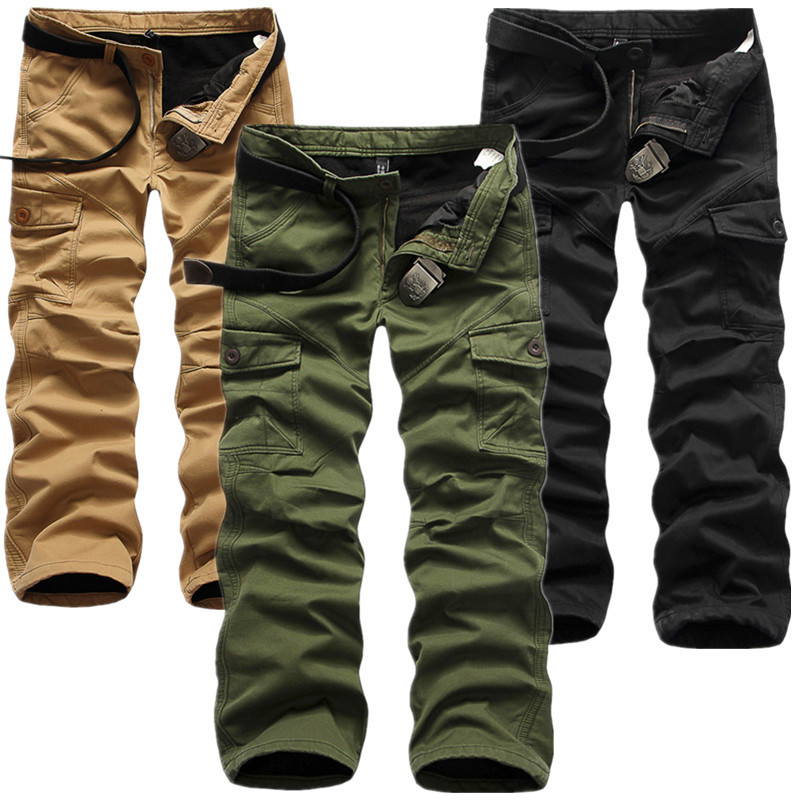 Boutique Recommended MEN'S Overalls Brushed And Thick Warm MEN'S Work Pants Solid Color Loose-Fit Y1007