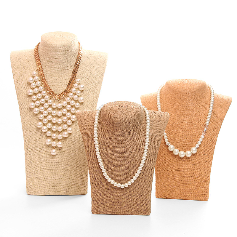 Hemp Mannequin Jewelry Display Bust Jewelry Holder Necklace Display Stand For Shows Necklace Holder Organizer Storage