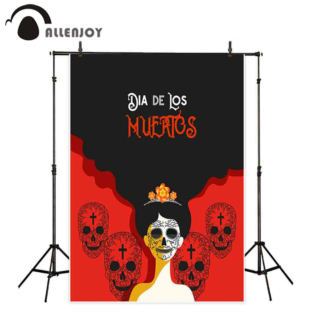 Allenjoy Day Of The Dead Theme Party Background Women Skulls Black And Red Banner Decoration Dress Up Events Photocall Backdrops Party Backdrops Aliexpress