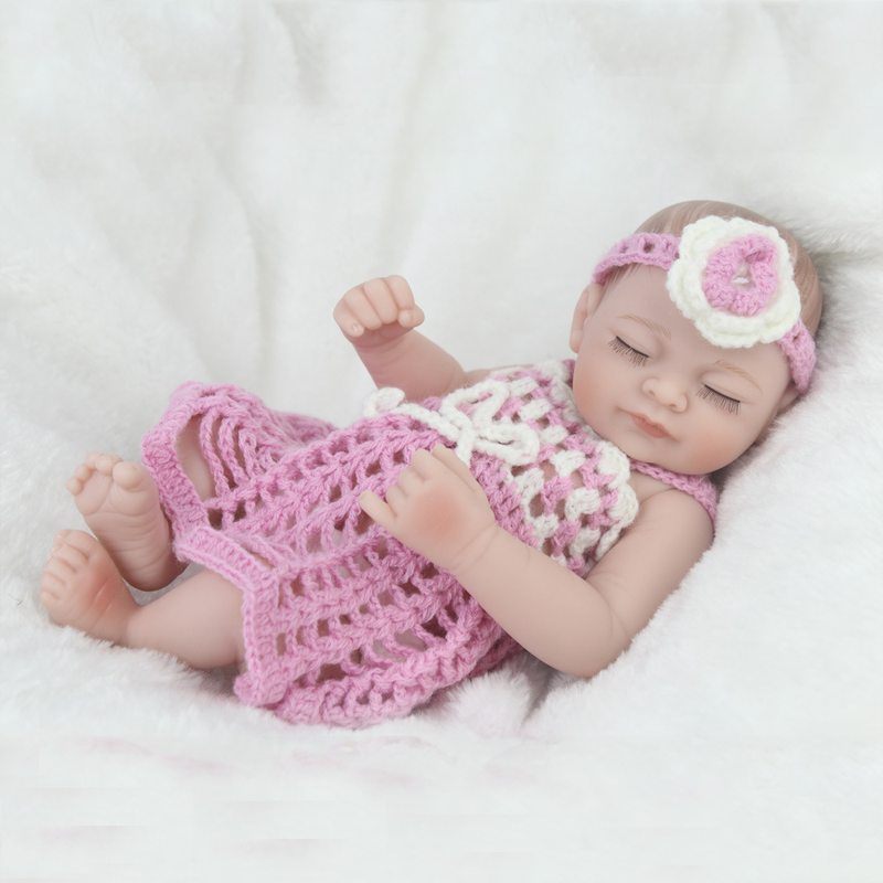 28 CM Sleeping Girl Princess Reborn Baby Dolls Full Soft Silicone Toddler With Fashion Dress  Lifelike