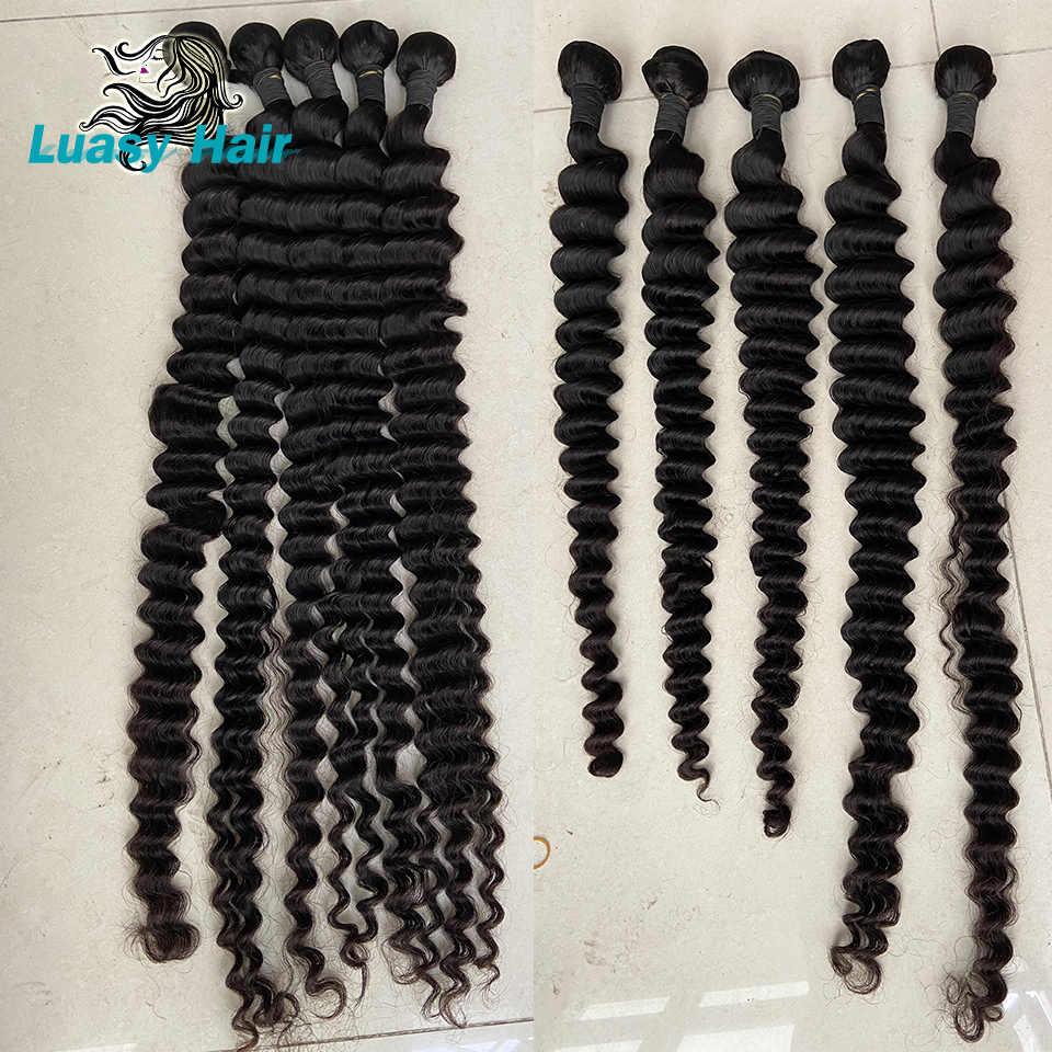 Luasy 30 32 34 36 38 40 inç brezilyalı saç örgü demetleri derin dalga % 100% İnsan saç demetleri doğal renk remy saç ekleme