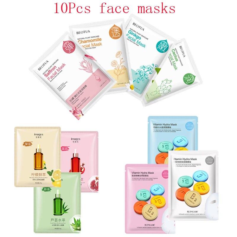 10Pcs Mixed plant Cactus saffron fruit vitamin Face Mask Moisturizing Whitening Acne Treatment Facial Masks Korean Skin Care
