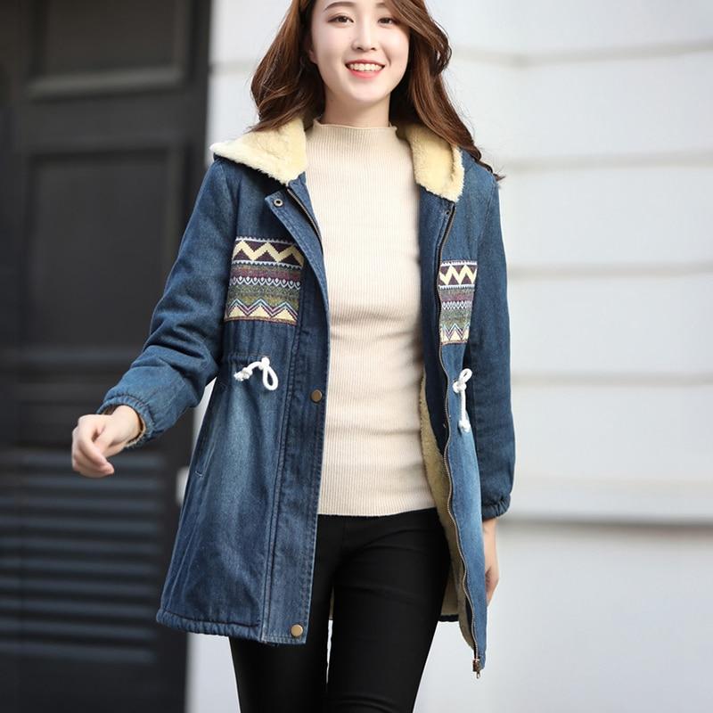 2019 новый сезон осень-зима, джинсовая куртка на шнурке, теплая Плотная джинсовая куртка из хлопка и бархата, модные парки для женщин, cc1242