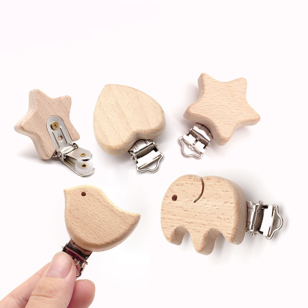 12 Style Beech Wood Pacifier Clip Small Elephant Star Heart-Shaped Bird Baby Teether DIY Preferred Nipple Chain Accessories