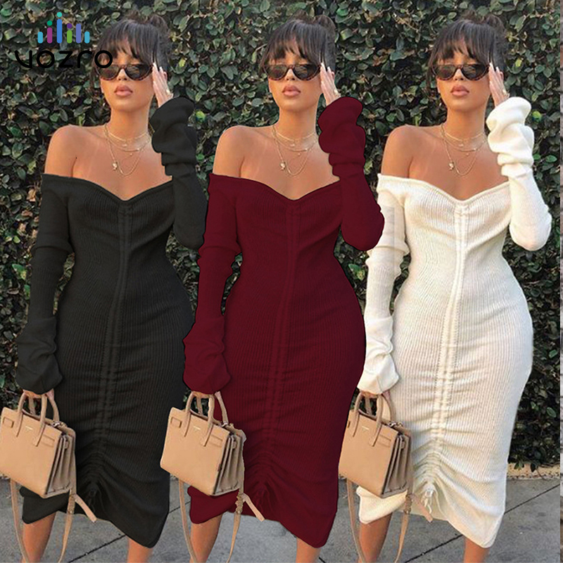 VOZRO Strapless Long Sleeve Color Pulling Rope 2019 Women Winter Maxi Party Autumn <font><b>Dress</b></font> Elegant Vestidos <font><b>Dresses</b></font> Befree Vintage image