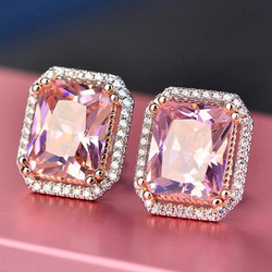 Huitan Gorgeous AAAAA Big Princess Square Pink CZ Stud Earrings Romantic Bridal Wedding Engagement Party Fashion Jewelry Earring