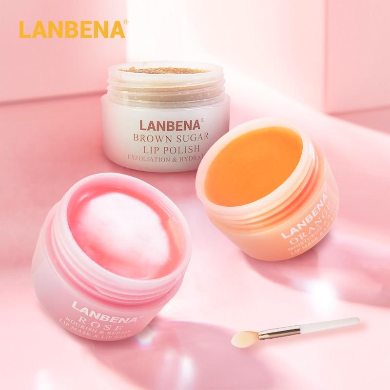 LANBENA Lip Care Mask Brush Lip Balm Lipstick Moisturizing Nourishing Lip Serum Whitening Lips Plumper Essence Makeup Beauty