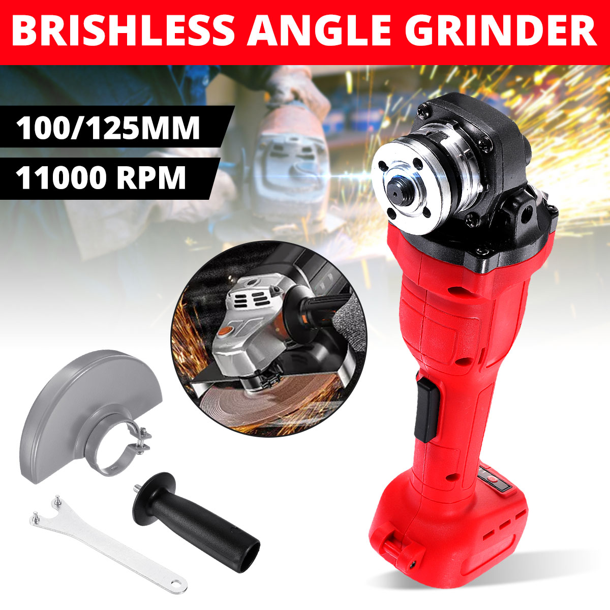 For Makita Battery 125mm Brushless Cordless Impact Angle Grinder Without Battery 18V 800W Power Tool Cutting Machine Polisher