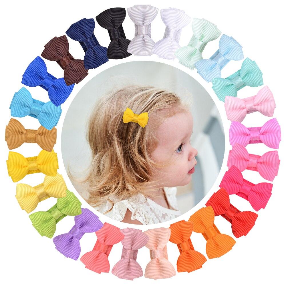 25 шт./лот 25 цветов однотонные Ленточные банты для волос с зажимом для маленьких девочек заколки для волос ручной работы новые головные уборы...