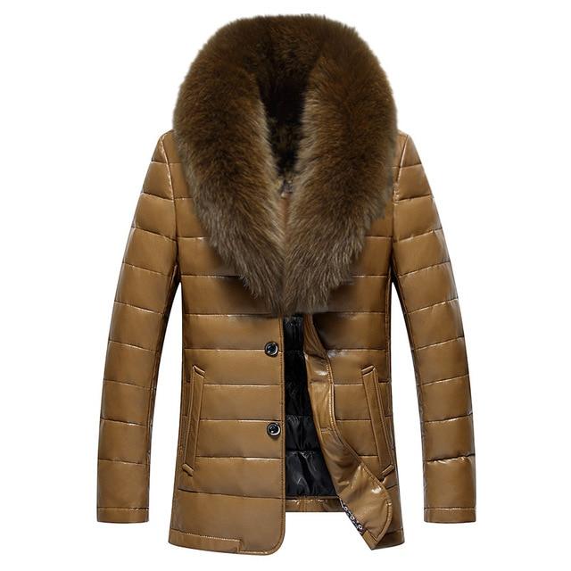 Winter New Big Real Fur Collar Veste Homme Cuir White Duck Down-padded Jaket Kulit Pria 5