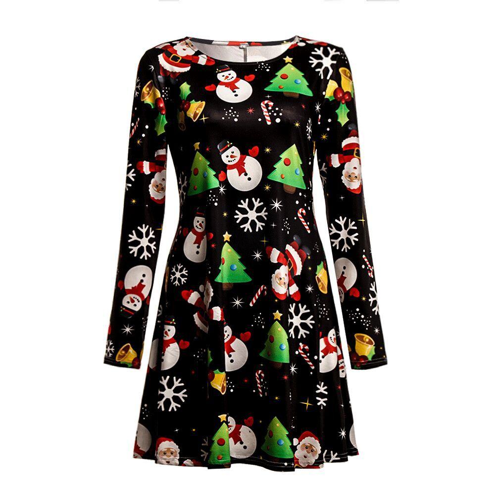 Print Long Sleeve Autumn Winter Christmas Dress Women 19 Casual Loose Short Party Dress Plus Size S-5XL Vestidos 1