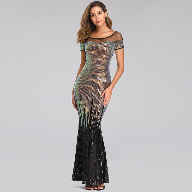 YIDINGZS New Backless Long Sequin Evening Dresses 2019 Elegant Gold Evening Party Dress YD9628