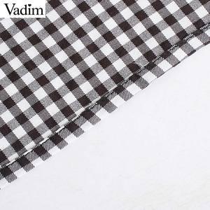 Image 4 - Vadim vrouwen mode basic plaid blouses peter pan kraag lange mouwen vrouwelijke toevallige zoete tops chic blusas mujer LB646