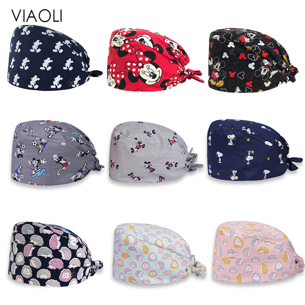 Viaoli Wholesale Prints Cute Scrub Caps High Quality Gourd Hat Clinic Hospital Dental Surgical Laboratory Pharmacy Medical Caps