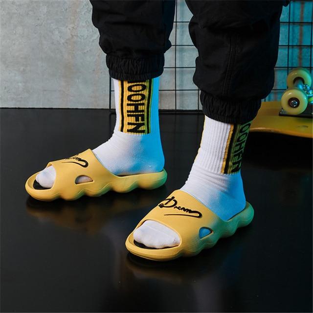 2021 Summer Non-slip Bathroom Slides Flops Couples Unisex Platform Slippers Home Men Slippers Simple Solid Color Shoes 2