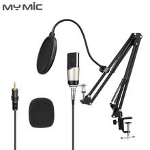 Micrófono profesional condensador My Mic M4X, micrófono de estudio de ordenador de gran diafragma con soporte de brazo ajustable para grabación de voz