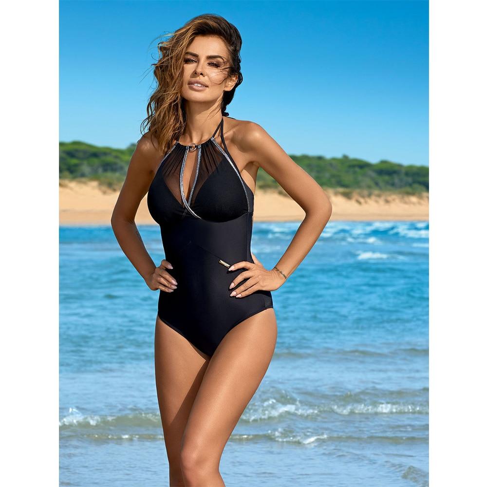 ESSV 2019 Women One Piece Push Up Swimsuit Patchwork Bodysuit Plus Size Swimwear Backless Cut Out Monokini Beach Bathing Suit-2