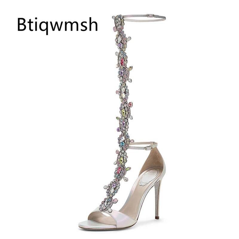 2019 Rhinestone Sandals Women Open Toe Bling Crystal Jewel T-strap High Heel Shoes Woman Sexy Wedding Shoes