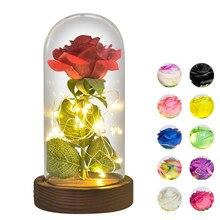 Rosa eterna roja/blanca/negra para mujer, flor en recipiente de cristal con luz LED, Base de madera, regalos de San Valentín para DÍA DE LA Madre