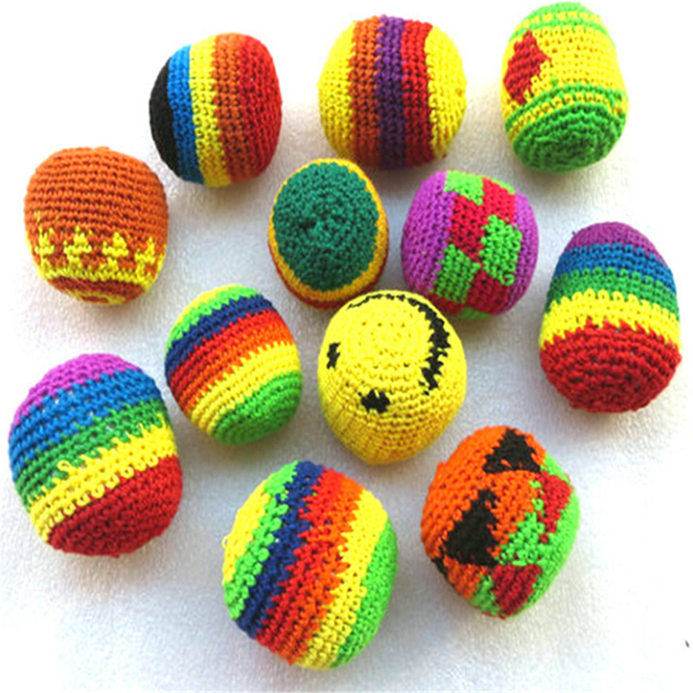 Colorful Handmade Children Magic Juggling Ball Sacks Footbag Classic Toy Balls For Kid Outdoor Toy Randomy Color 5cm  1pc