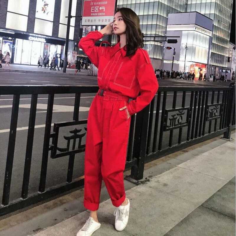 2 Piece Set Women Cotton Tooling Jumpsuit Female 2020 New Loose High Waist Casual Pants With Wide-leg Pants Suit