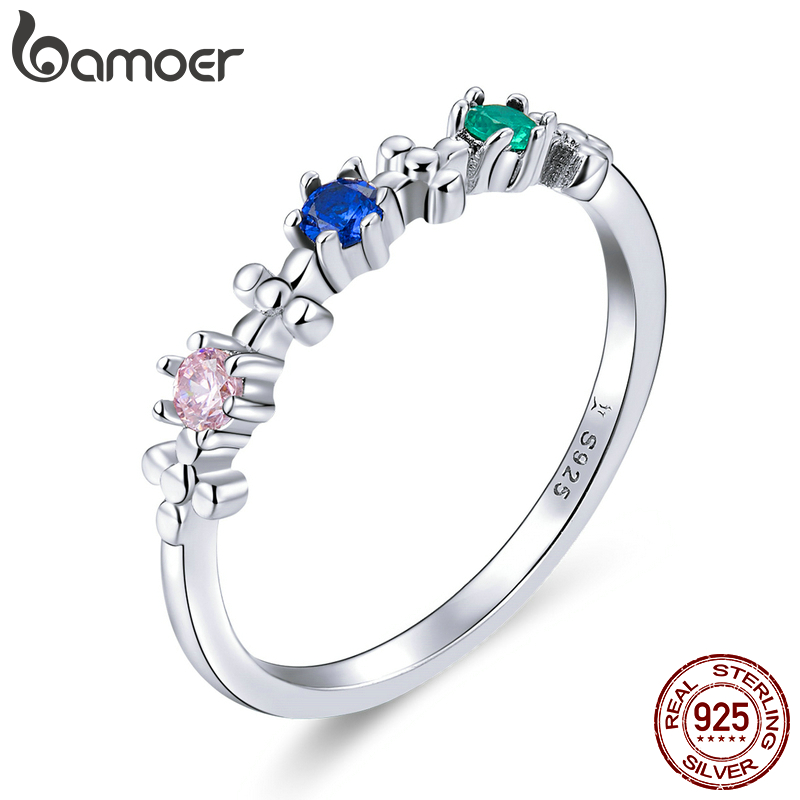 Bamoer 925 Sterling Silver Rainbow Color CZ Delicate Finger Rings For Women Wedding Engagement Statement Band Jewelry SCR637