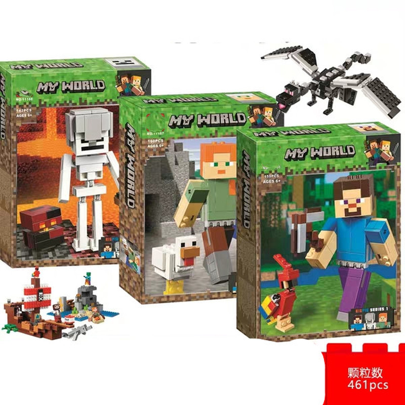 New 21150 21149 21151 My World Series Steve The Big Fig With Parrot Model Minecingly Building Blocks Toys For Children Gift