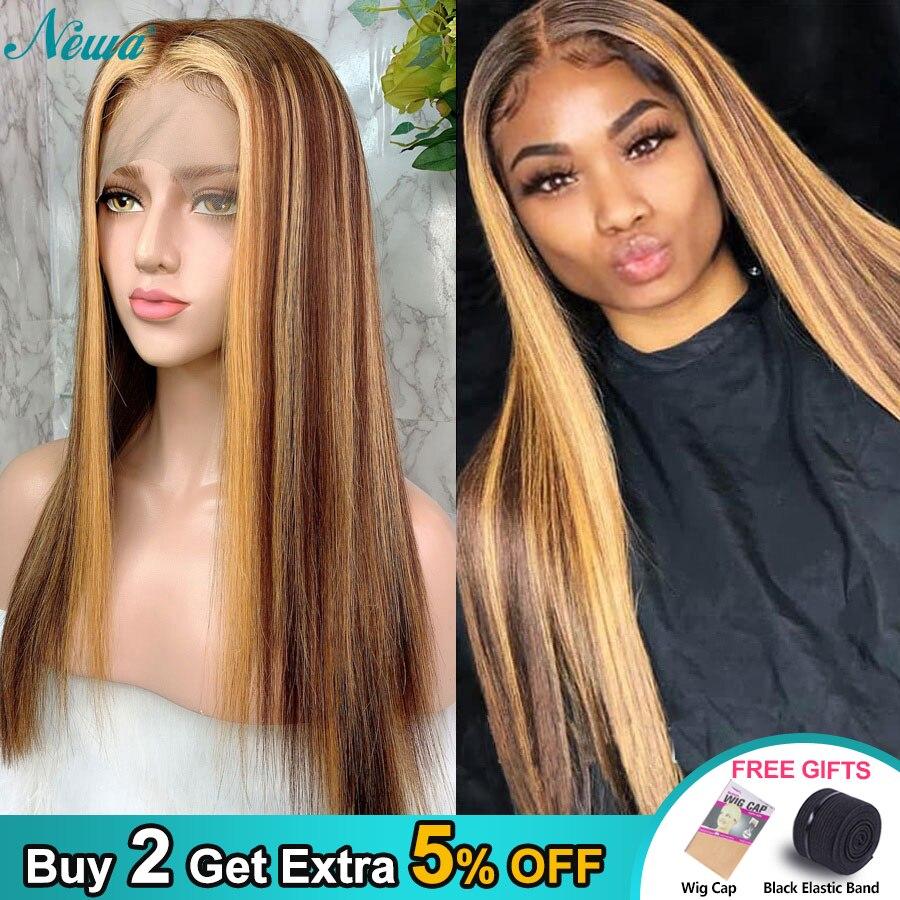 Newa волосы 13x6 прямые кружевные передние человеческие волосы парики предварительно выщипанные с детскими волосами Омбре основные бразильские Remy кружевные передние парики