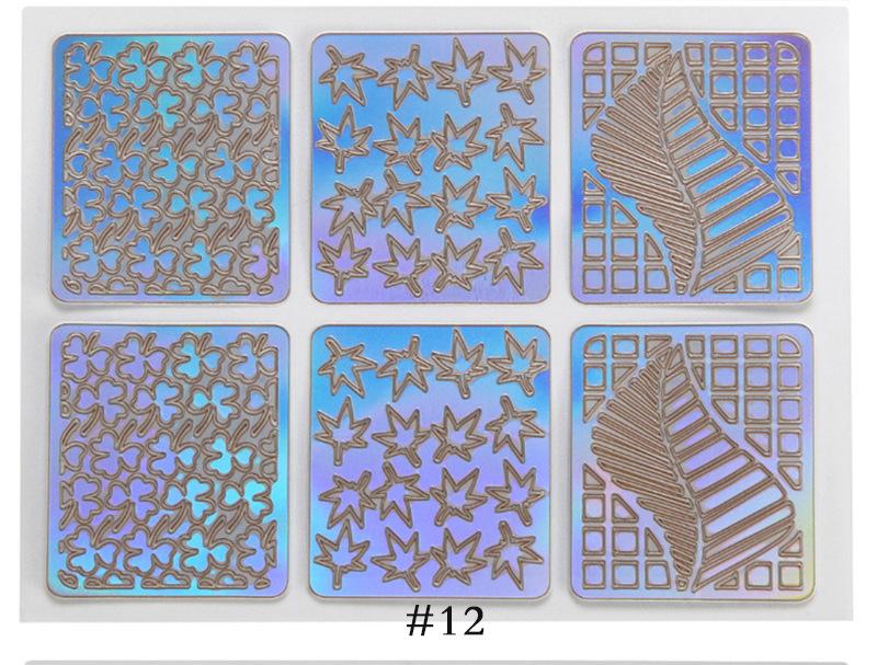 6/12/24 шт полые наклейки для ногтей 3d Полые модные самоклеящиеся