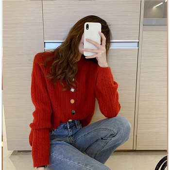 Ailegogo New 2020 Autumn Winter Women's Sweaters V-Neck Buttons Short Cardigans Fashionable Korean Ladies Knitwears SWC2217 5