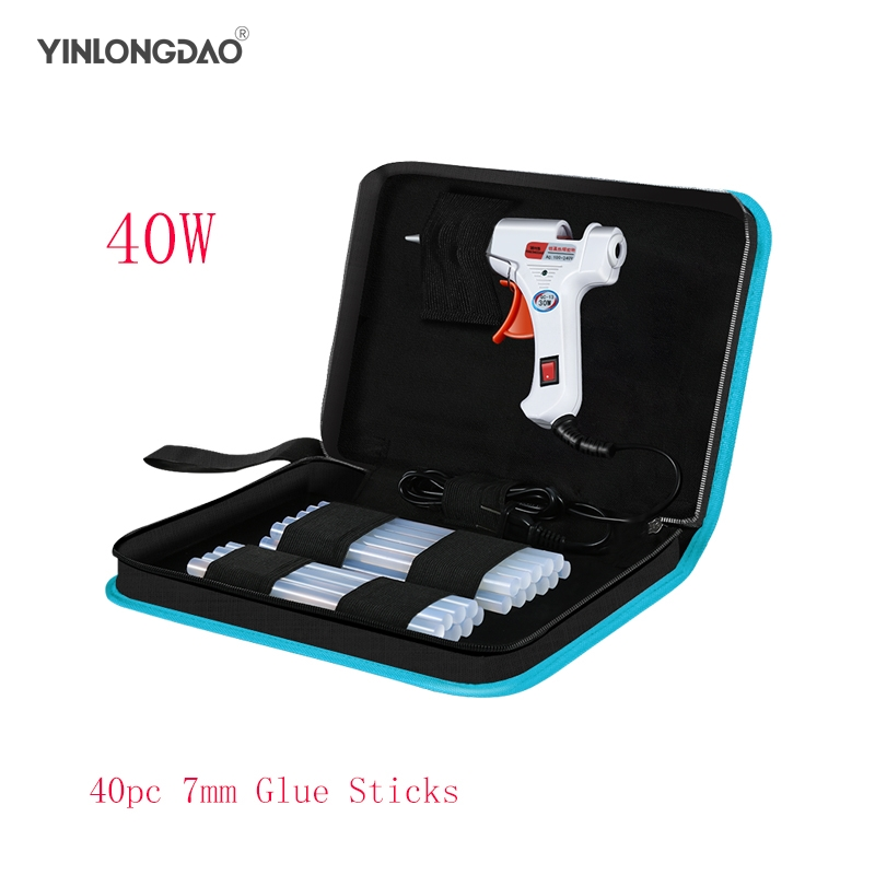 YINLONGDAO 40W Smart Hot Melt Glue Gun Aluminum Plastic Nozzle Repair Kit Tools + 40 Pcs High-purity High Viscosity Glue Sticks