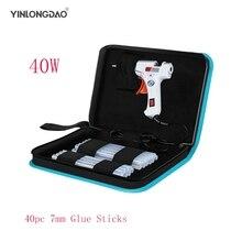 YINLONGDAO 40W Smart Hot Melt Glue Gun Aluminum plastic nozzle Repair Kit Tools + 40 Pcs High-purity high viscosity Glue Sticks