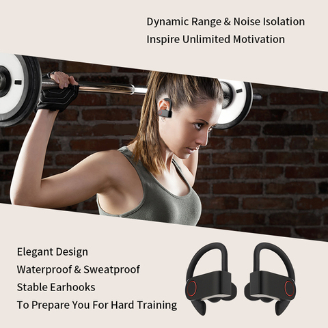 Wireless Sports Headphones TWS Bluetooth 5.0 Earphones Ear Hook Running Noise Cancelling Stereo Earbuds With MIC IPX4 Waterproof Lahore