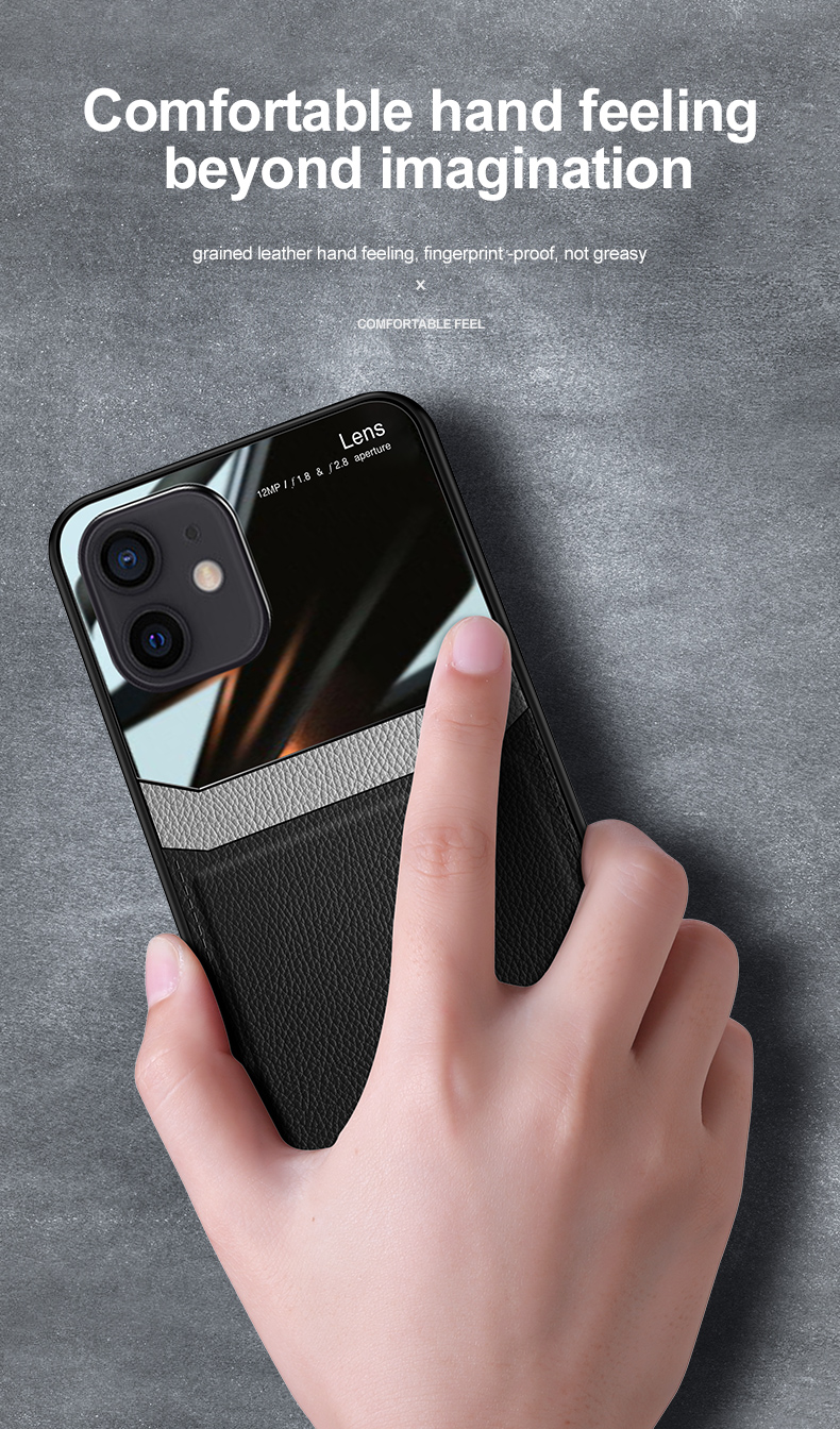 PU Leather Glass Back Cover Shockproof Case for iPhone 12 Pro Max 2