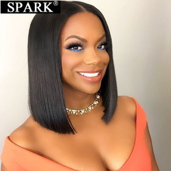 Spark Short Bob 100% Human Hair Wig Straight Brazilian 4x4 Lace Front Wigs Natural Black Color Middle Part For Black Women Remy