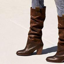 Женские ботинки на Высоком толстом каблуке модные рыцарские