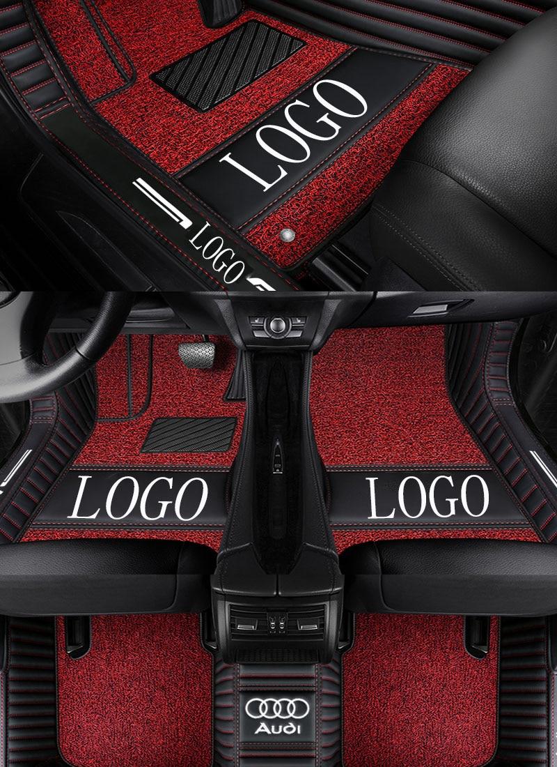 Car floor mats with Logo/Brand Logo for Audi A1 A3 A4 A6 A7 Q3 Q5 Q7 TT leather Anti-slip car-styling carpet liner