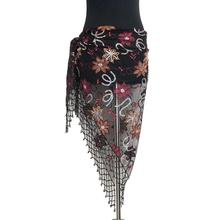 Hip-Scarf Bellydancing-Belt Flower-Patterns Sequins Triangle with Tassels Embroidery