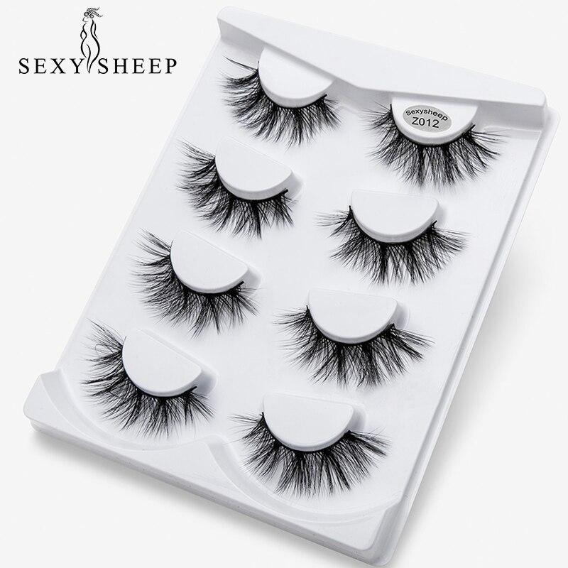 SEXYSHEEP 4pairs 3D Mink Lashes Natural False Eyelashes Dramatic Volume Fake Lashes Makeup Eyelash Extension Silk Eyelashes