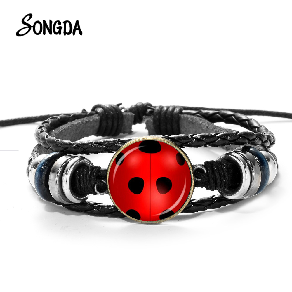 SONGDA Creative Lady Bug Woven Leather Bracelet Cute Ladybug Cat Footprint Glass Dome Adjustable Bangles Wristband Handmade Gift
